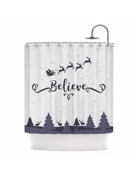 East Urban Home Famenxt Christmas Believe Illustration Shower Curtain by East Urban Home
