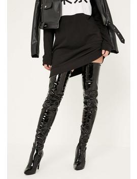 Black Patent Stiletto Over The Knee Boots by Missguided