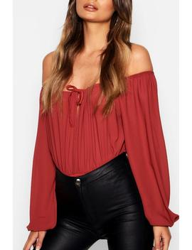 Puff Sleeve Woven Bodysuit by Boohoo