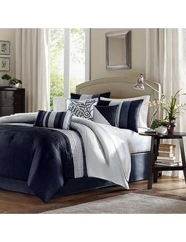 Madison Park Amherst 7 Piece Navy Comforter Set   California King by Madison Park