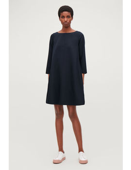 Wide Neck A Line Wool Dress by Cos