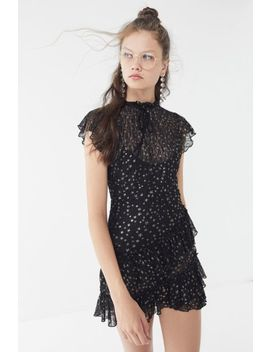 Lost + Wander Estella Metallic Lace Ruffle Mini Dress by Lost + Wander