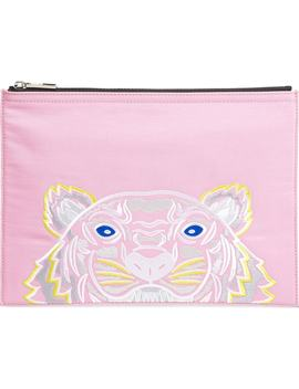 Kanvas Tiger Embroidered A4 Pouch by Kenzo