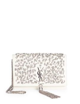 Kate Crystal Beaded Leather Crossbody Clutch by Saint Laurent