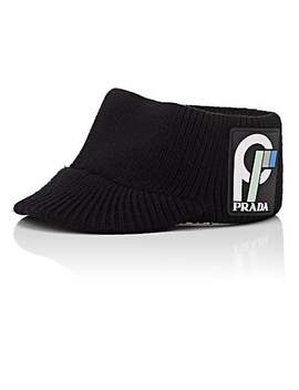 Rib Knit Wool Visor by Prada