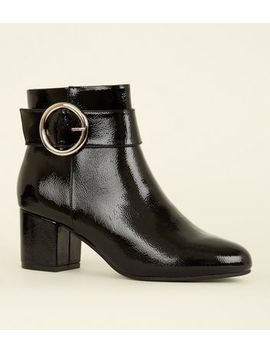 Black Patent Circle Buckle Ankle Boots by New Look