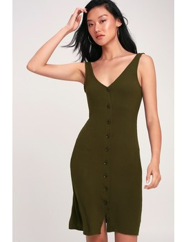 Bushwick Babe Olive Green Ribbed Button Front Midi Dress by Lulus