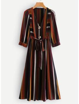 Multi Stripe Self Tie Dress by Sheinside
