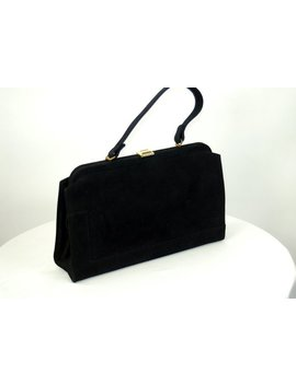 1950s Handbag Kelly Bag Nubuck Black Leather Purse by Etsy
