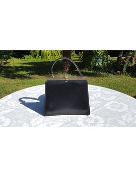 French Vintage Black Leather Kelly Bag , Black Leather Hand Bag, Black Handbag,Black Bag by Etsy