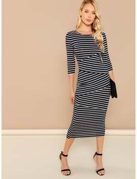 Striped Print Bodycon Dress by Shein