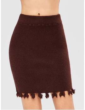 Pull On Sweater Pencil Skirt   Maroon by Zaful