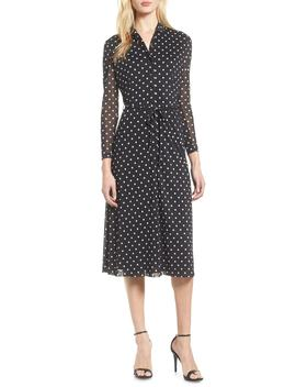 Dot Print Mesh Shirtdress by Anne Klein