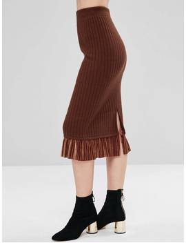 Velvet Panel Slit Knit Skirt   Brown by Zaful