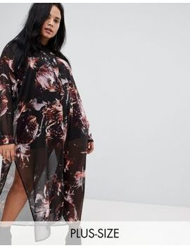 Religion Plus Midi Shirt Dress In Grunge Floral by Religion Plus