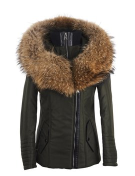 Cecile Jacket Khaki With Natural Raccoon Collar by Popski London