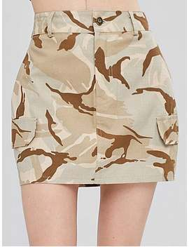 Faux Pockets Camouflage Skirt   Acu Camouflage L by Zaful