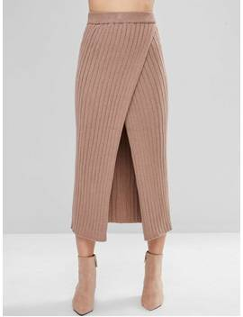Overlap Knit Maxi Skirt   Camel Brown by Zaful