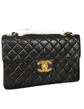 Vintage Classic Jumbo Black Lambskin Leather Shoulder Bag by Chanel