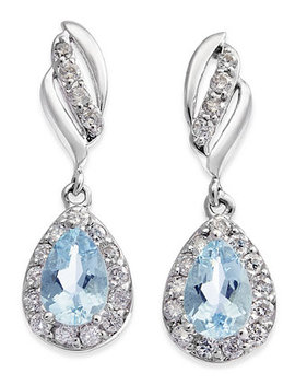Aquamarine (3/4 Ct. T.W.) & Diamond (1/3 Ct. T.W.) Drop Earrings In 14k White Gold by Macy's