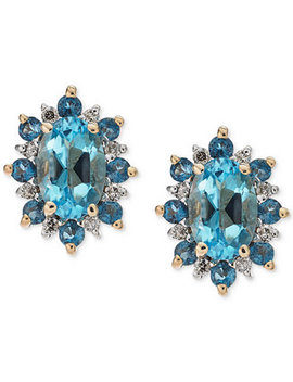 Blue Topaz (1 1/5 Ct. T.W.) & Diamond Accent Stud Earrings In 14 Gold by Macy's
