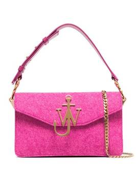 Pink Hibiscus Logo Felt Shoulder Bag by Jw Anderson