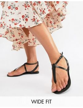 Asos Design Wide Fit Forbes Leather Flat Sandals by Asos Design