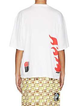Flame Shoe Print Cotton T Shirt by Prada
