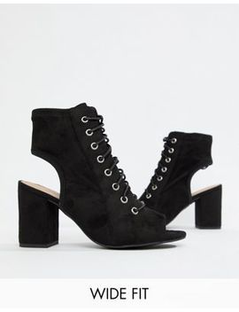 New Look Wide Fit Heeled Lace Up Sandal In Black by New Look