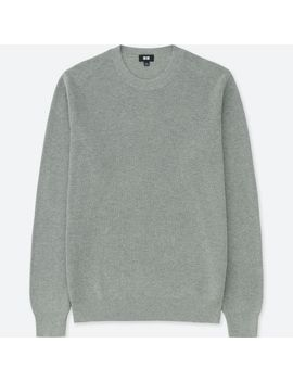 Men Cotton Cashmere Ribbed Crew Neck Long Sleeve Sweater by Uniqlo