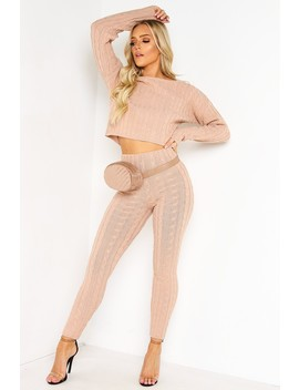 Pink Cable Knit Legging Co Ord Set by Lasula