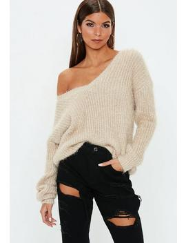 Sand V Neck Oversized Jumper by Missguided