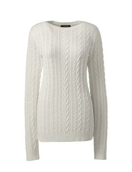 Women's Combed Cotton Cable Sweater by Lands' End