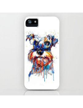 Schnauzer Head Watercolor Portrait I Phone Case by