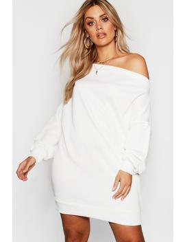 Plus Off The Shoulder Sweat Dress by Boohoo