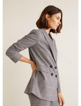 Slim Fit Hundtand Kostym Blazer by Mango
