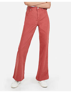 Super High Waisted Stretch Twill Wide Leg Pant by Express