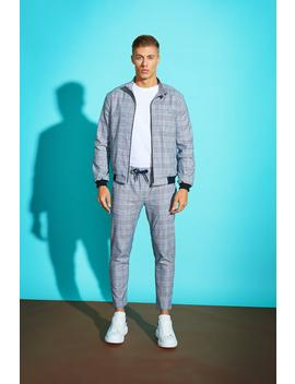 Prince Of Wales Check Smart Bomber Jacket by Boohoo