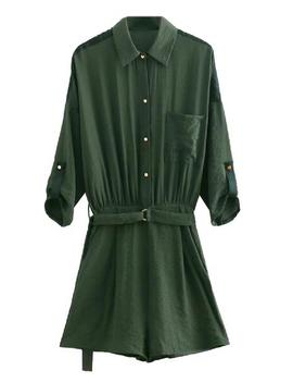 'janelle' Utility Style Belted Shirt Romper (2 Colors) by Goodnight Macaroon