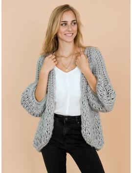 'lillibeth' Grey Chunky Knit Open Cardigan by Goodnight Macaroon