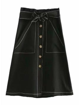 'pernilla' Button Belted Midi Skirt (2 Colors) by Goodnight Macaroon