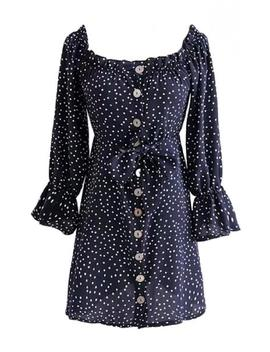 'cadence' Dotted Print Button Front Midi Dress by Goodnight Macaroon