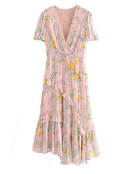 'cate' Frilly Floral Print Maxi Dress by Goodnight Macaroon