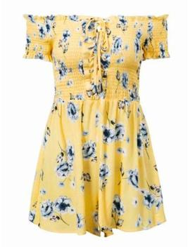 'agata' Yellow Floral Tied Front Off The Shoulder Romper by Goodnight Macaroon