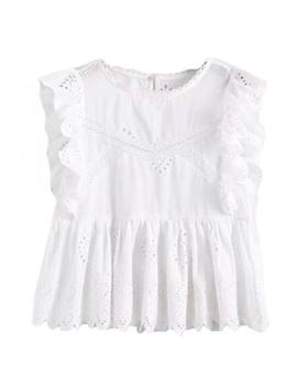 'felicia' White Broderie Anglaise Ruffle Sleeve Peplum Top by Goodnight Macaroon