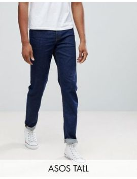 Asos Tall Stretch Slim Jeans In 12.5 Oz Dark Blue by Asos