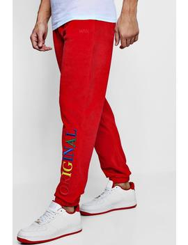 Velour Original Man Rainbow Loose Fit Joggers by Boohoo