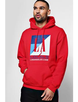 La Locals Chest Print Hoodie by Boohoo