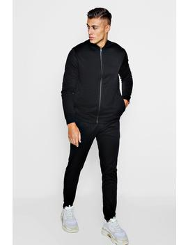 Tricot Bomber Tracksuit With Man Embroidery by Boohoo