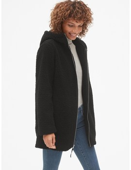 Hooded Zip Front Teddy Coat by Gap